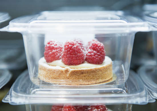 transparent tray with pastry